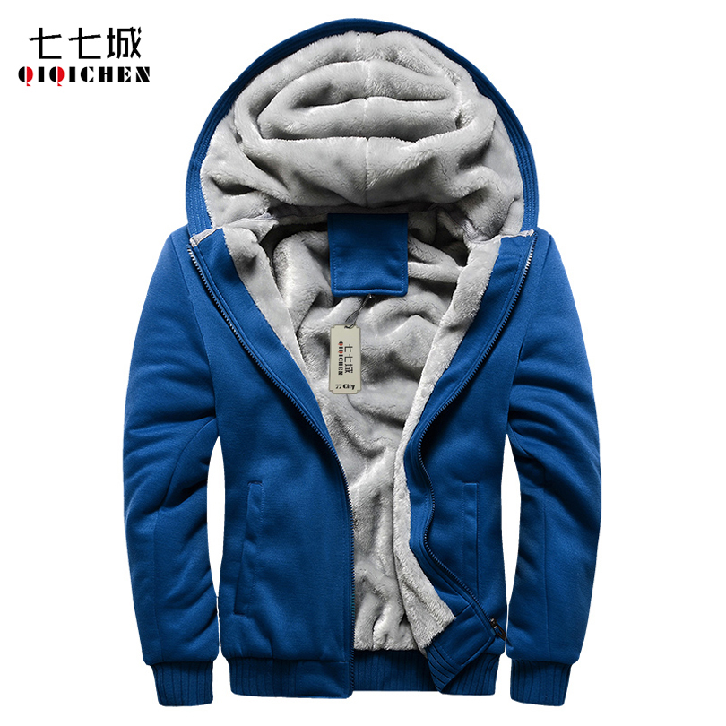 2017 Winter Plus Velvet Men Hoodie Sweatshirt Casual Solid Soft Thick Casual Hooded Cardigan Jacket Men Tracksuit Hoodie 5XL