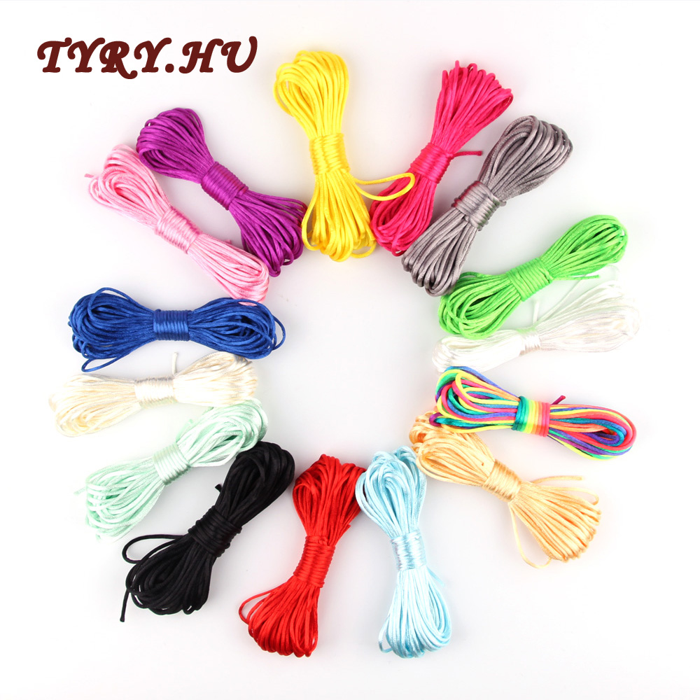 Tyry.hu 10m Soft Satin Nylon Multicolor Cord Solid Rope For Jewelry Making Beading Cotton Cord For Baby 2mm Diy Necklace Pendant
