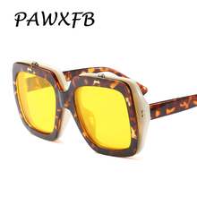 Pop Age 2018 New Oversized Flip Clear Yellow Lens Sunglasses Women Men Square Steampunk Sun Glasses Lentes de sol