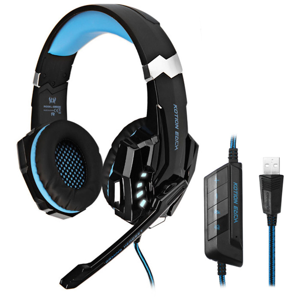 KOTION EACH G9000 Gaming Headphone 7.1 Surround USB Vibration Game Headset Headband Headphone With Mic LED Light For PC Gamer star kingelon g9000