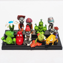10pcs/set PVZ Plant VS Zombie Pea Pod Bonk Choy Snapdragon Zombie Bull Rider PVC Doll Collective Figure Model Toys Free Shipping