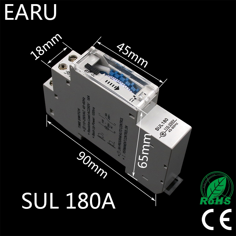 SUL180a 15 Minutes Mechanical Timer 24 Hours Programmable Din Rail Timer Time Switch Relay Measurement Analysis Instruments New usb 3 x aaa powered vibrating muscles electric massager blue