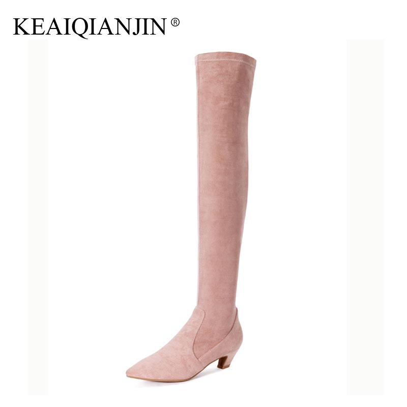 KEAIQIANJIN Woman Over The Knee Boots Autumn Winter High Heel Shoes Sheepskin Gray Pink Boots Genuine Leather Knee High Boots dijigirls new autumn winter women over the knee boots shoes woman fashion genuine leather patchwork long high boots 34 43