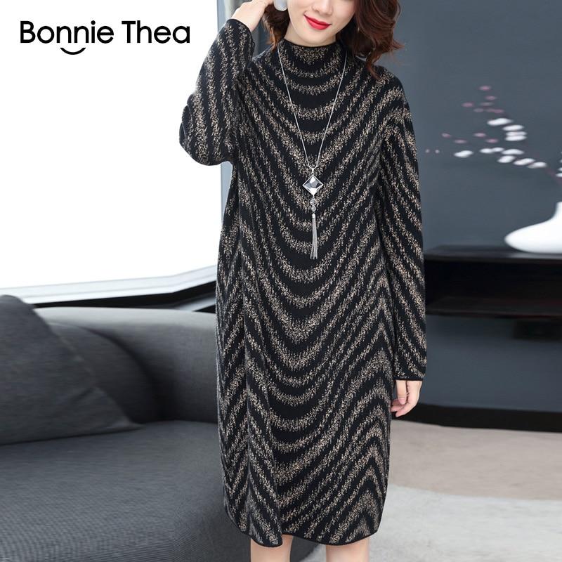 Vestido Elegant Dress 2018 Winter Black Sweater Lady Thea Autumn Dresses Party Turtleneck Knitting Women Female Bonnie n0FPCqxw