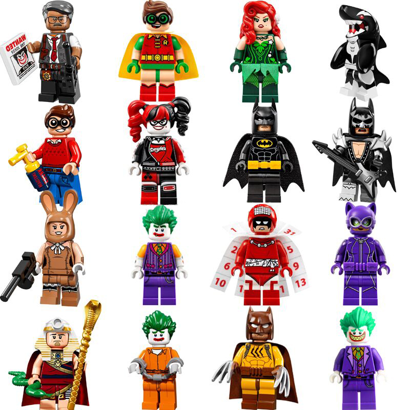 16pcs Super Heroes Batman Movie Harley Quinn Robin Killer Whale Poison Ivy Clown Figures Builidng Blocks Toys Compatible