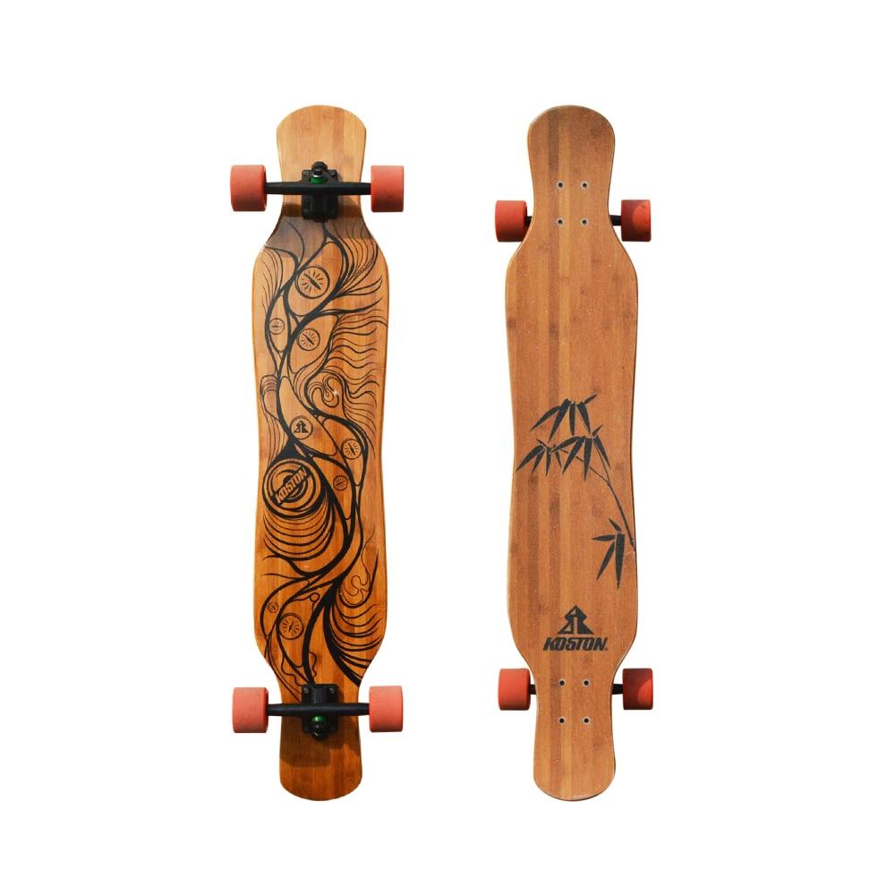 Prix pour Koston pro danse style longboard complète avec bambou et érable canadien mixte, 46 pouces longue planche à roulettes ensemble pour conseil de marche