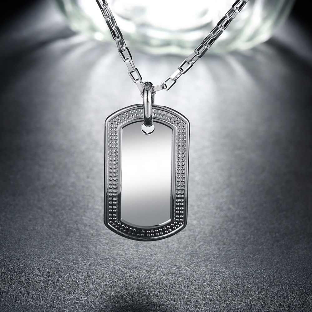 4*2 センチメートル 925 スターリングシルバーバーペンダントネックレス本物のスリヴァージュエリーシンプルな幾何学的なファッションロロパンクヒップホップロックネックレス