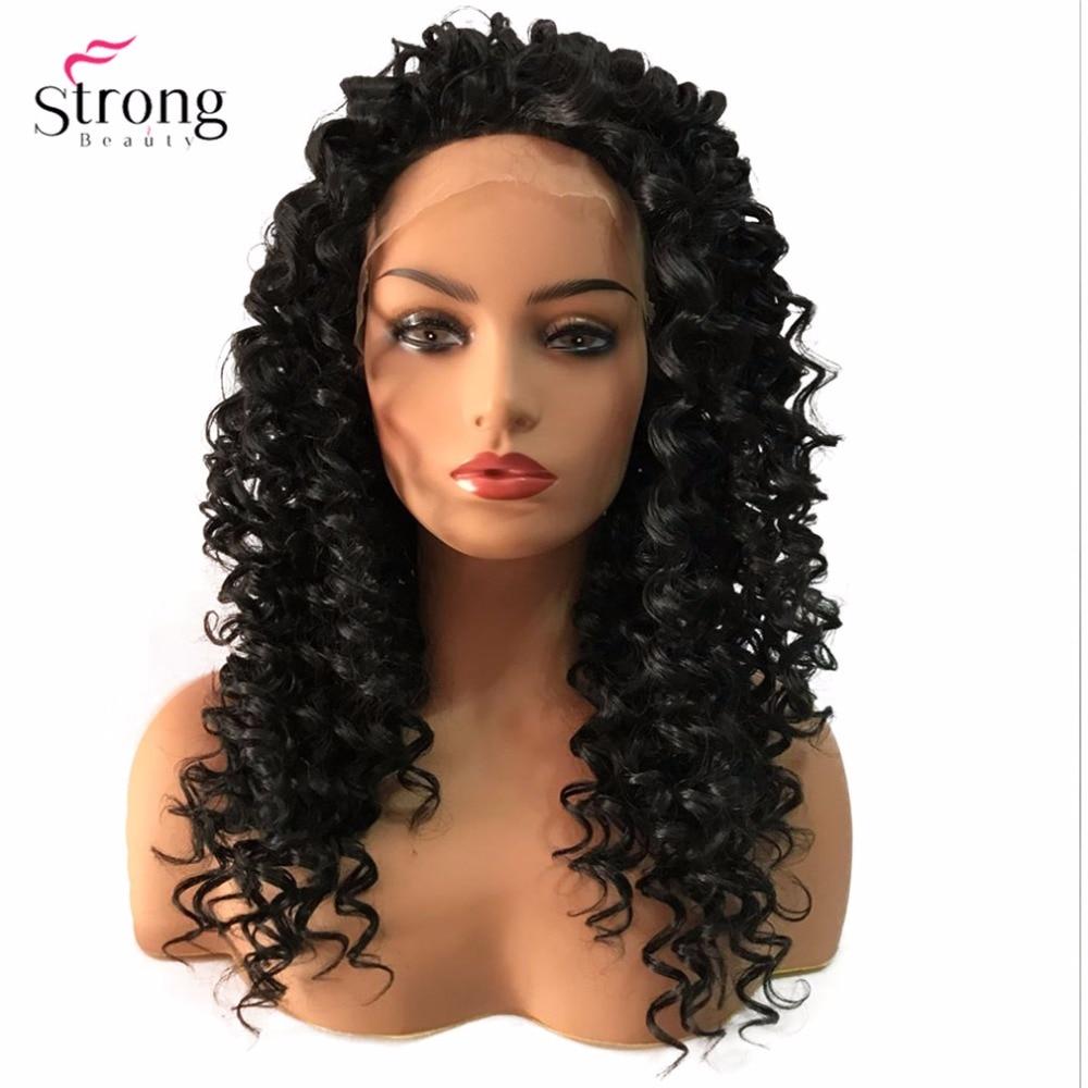 StrongBeauty Lace Front Parykar Brun / Svart Lång Sassy Curly Hair - Syntetiskt hår - Foto 3