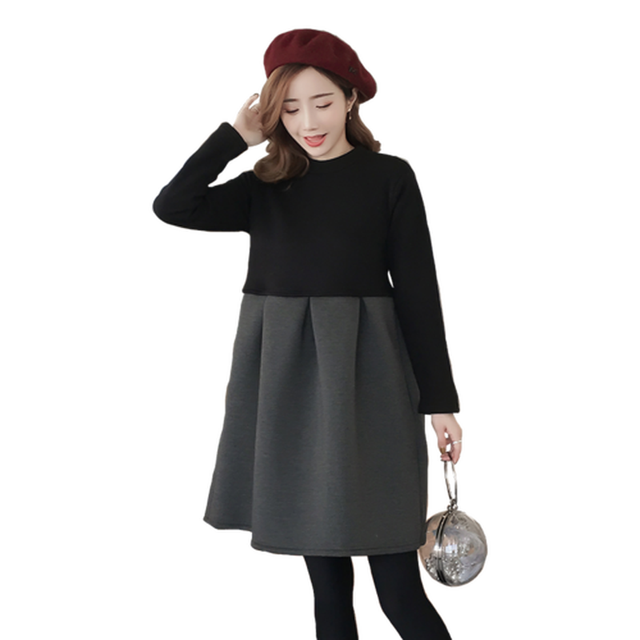 e148214d5c75 Autumn Winter Maternity Dresses Korean Patchwork Zip Thick Pregnancy Dress  Pregnant Women Plus Size Vestidos De Maternidad