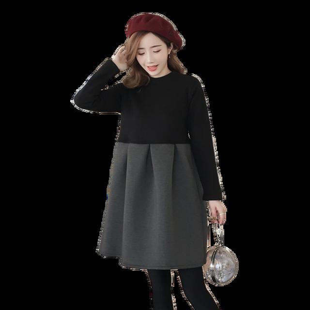 3bf129ebe167 Autumn Winter Maternity Dresses Korean Patchwork Zip Thick Pregnancy Dress  Pregnant Women Plus Size Vestidos De Maternidad