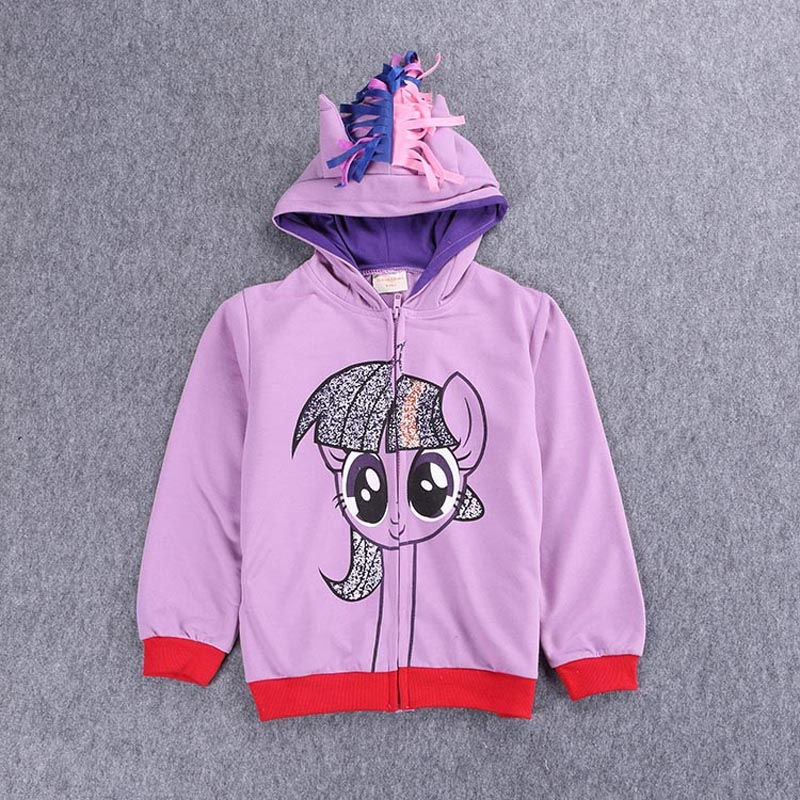 2017 New Leisure time motion jacket My pony Girls kids zipper clothes Cotton children clothing baby stripe Cartoon Coat Size1-8Y