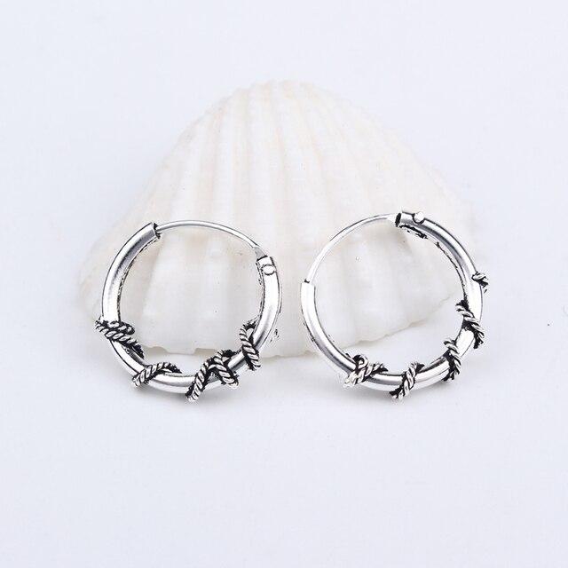 European Small Hoop Earring For Women Vintage Silver Color Hoop Earrings Circle