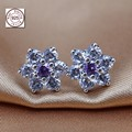 Compatible with Pan Jewelry 2016 New Spring Collection Forget me not Earring Studs 925 sterling silver earrings for women