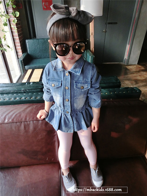 [Bosudhsou.] #B-1 Spring Kid's Children Clothing Baby Girls Jacket Outwear Denim Jeans  RUFFLES Patchwork Turn-down Collar Coat