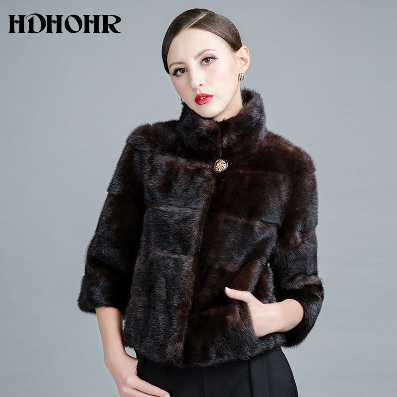 HDHOHR 2019 New Real Fur Coats Women Fashion Natural Mink Fur Coats With Fox Fur Collor  Long Mink Jackets  Whole Peel Fur Coat