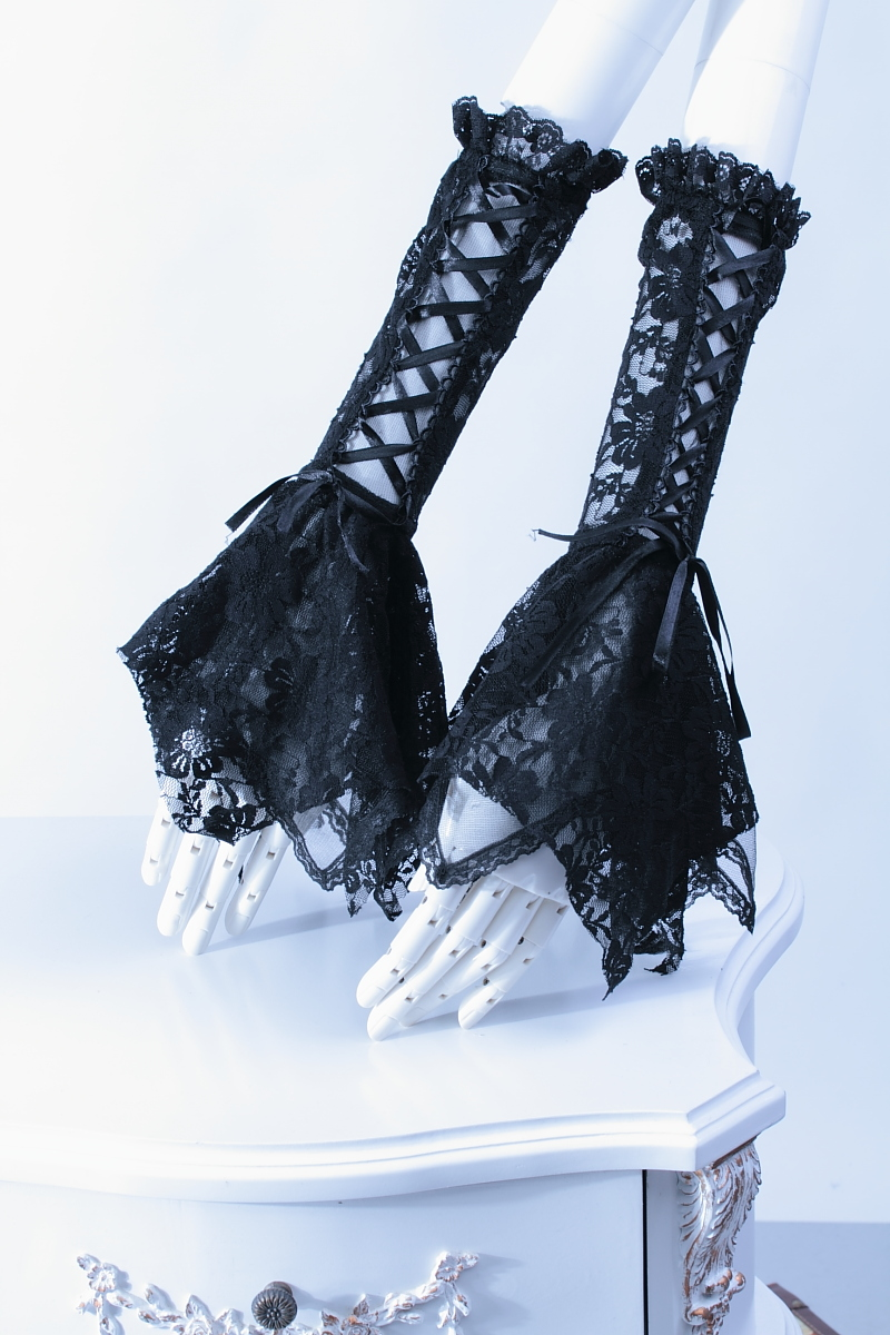 Black Sexy Lace Wrist Fingerless Bowknot Gloves Cross Ties With Lace Evening Party Gloves Women Accessory Fashion Dress