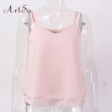 ArtSu Chiffon Tank Top Women Summer Sleeveless Shirt Sexy V-neck Cami  Casual Female Tops Plus Size Vest Clothing LDVE60008