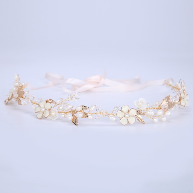 Hot head with crystal pearl hair gold silver Zinc alloy flower shells handmade headdress bridal hair accessories wedding jewelry