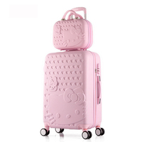 2 pcs/Set Beautiful 14 inch hello Kitty cosmetic bag 20 24 28inch students Travel luggage trolley case a woman rolling suitcase