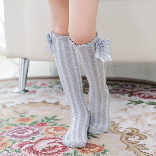 d22c9795f Baby Girls Knee High Socks Kids Children Cute Lace Bows Princess leg  Warmers Solid Cotton Girl