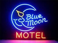 ネオンサイン用ブルームーンモーテルホテル国レトロ看板real glassビアバーpub表示クリスマス光のサイン17*14