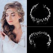 Diademas de cristal Boda nupcial perla accesorios para el cabello diadema novia Tiaras flor adorno de pelo tocado para el pelo para mujer joyería