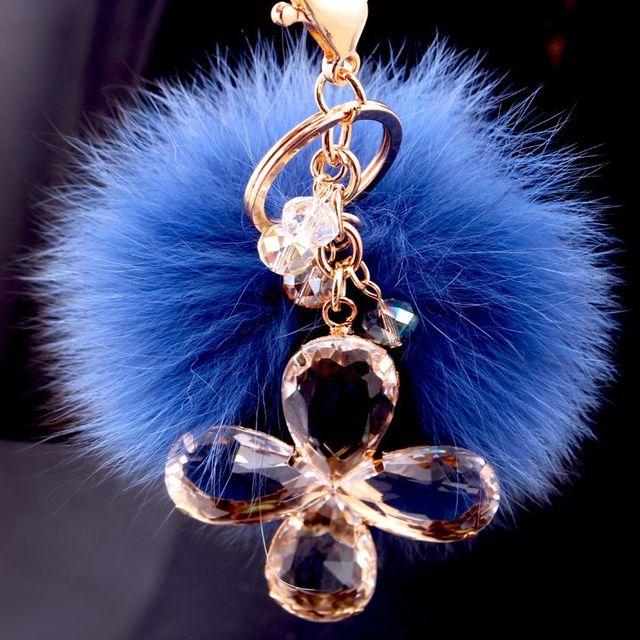 Синий брелок 8 см брелоки брелок высоко натурального меха кролика шар для женщин сумочке автомобиля пом для BMW мини Benz