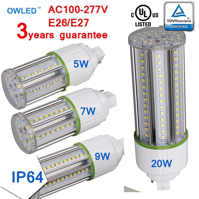 G24D/G24Q/G24 LED PL Light Bulb Street Garden Yard UL/cUL/TUV 5W 7W 9W 12W 15W 20W Closed Lighting fixtures Corn Light