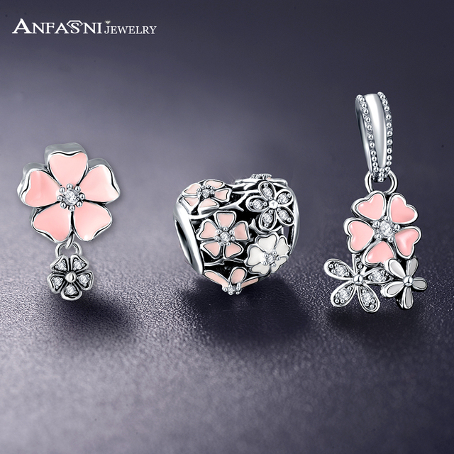ANFASNI 100% 925 Sterling Silver Poetic Blooms Charm Beads Pendant Fit Bracelet Necklace Authentic Luxury Jewelry Gift