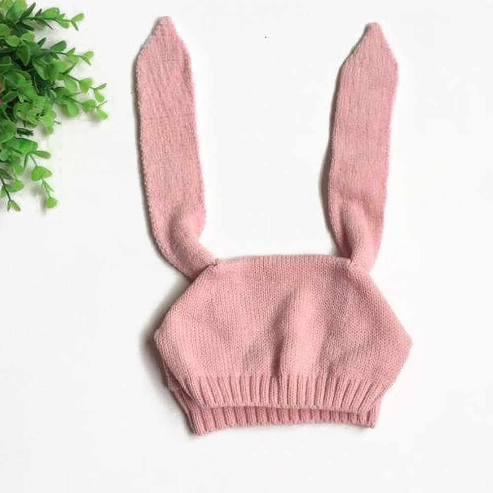 Lovey/вязаная шапка с кроличьими ушками для маленьких мальчиков и девочек, бини зимняя теплая шапка