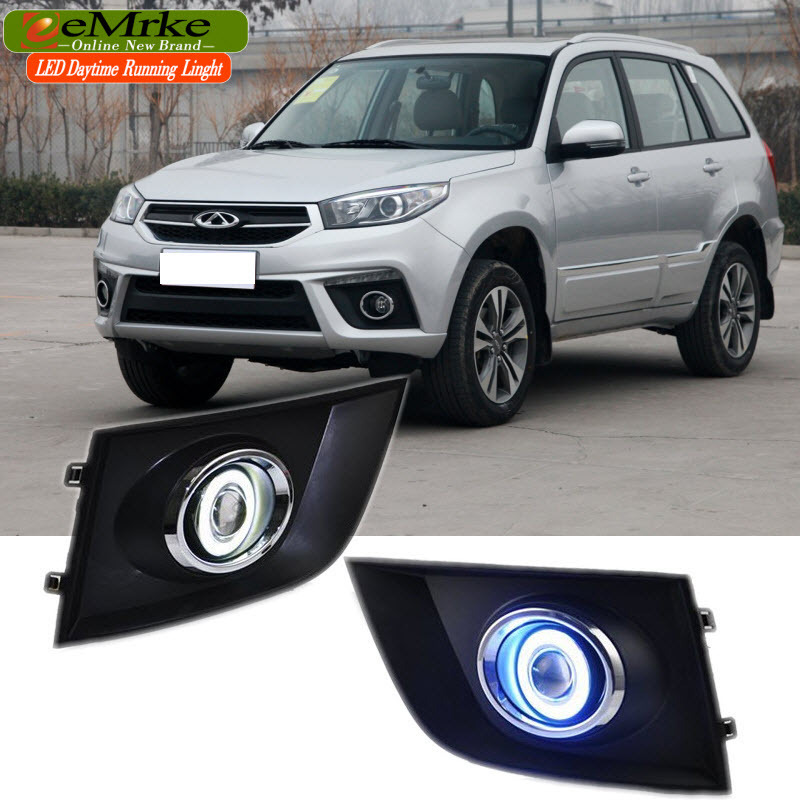 EEMRKE Car Styling For Chery Tiggo3 2014 2015 COB LED Angel Eyes DRL H11 55W Halogen Fog Lights Lamp Daytime Running Light eemrke for toyota vios yaris belta 2007 2013 led angel eye drl daytime running light halogen yellow h11 55w fog lights