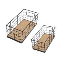2PCS Multi functional Wooden Bottom Iron Storage Basket Multifunctional Metal Baking Technology Desktop Storage Basket