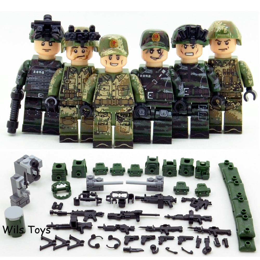 6 pcs Spécial Forces MILITAIRE Armée Navy Seals Équipe Marines SWAT Soldats WW2 Building Blocks Figures Jouet Éducatif Garçon enfants