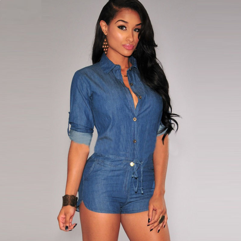 Summer Sexy Denim Rompers Women Jumpsuit Long Sleeve Club Short Playsuit Casual Overalls For ...