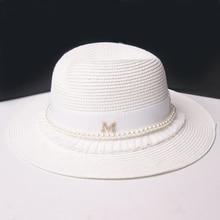 White Summer Straw Sun Hat Pearl Tassel Lace Brim Wedding Cloche Wide Beach Hats For Women Chapeau Feminino Cap