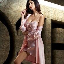 купить Robe Sets Female Satin Silk Sleepwear Women Elegant Embroidery Bathrobes Two-Piece Sexy Lace Home Clothes X6622 дешево