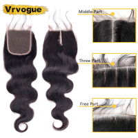 Vrvogue Hair 4x4 Closure Peruvian Hair 130% Density Non-Remy Human Hair Closure Free Middle Three Part Body Wave Closure
