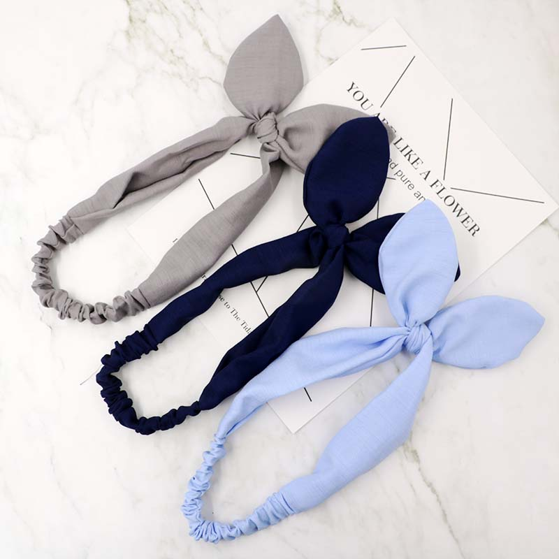 1pc Solid Bunny Rabbit Ears Hairband Elastic Turban Bow Knot Metal Wire Scarf Headbands for Women Hair Band Hair Accessories