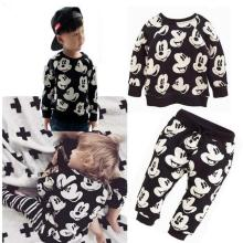 Spring Autumn Kids Baby Girls Boys Cartoon kids Sweatshirts set Tops+Pants Set Minnie Mouse print 2pcs Outfits Children's Sets