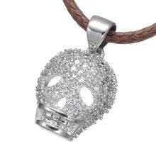 High Quality Micro Pave AAA Zircon Wonderful Skull Head Shape Fashion Vintage Women Christmas Jewelry Pendants Necklaces Gifts(China)