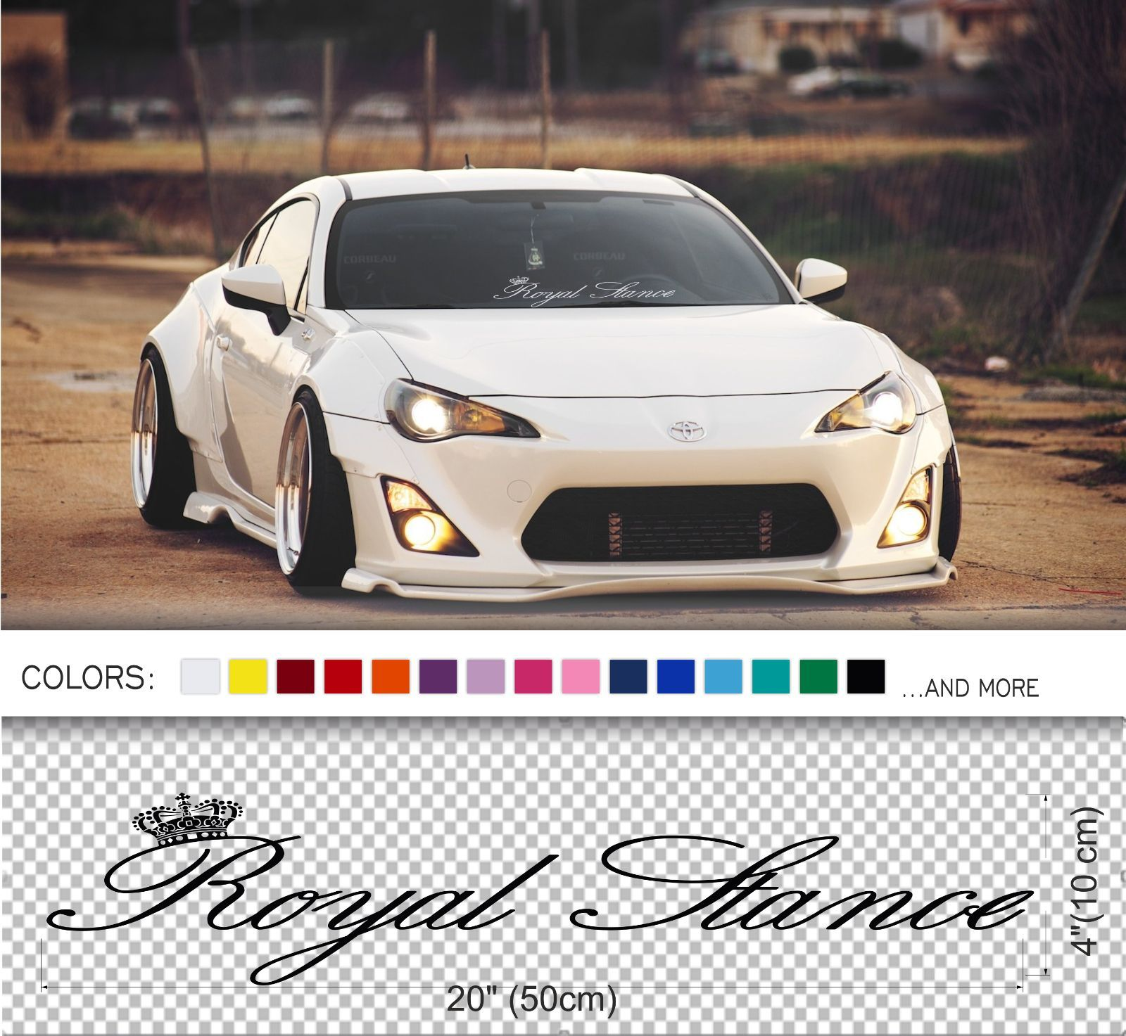 Royal stance 20 size windshield windscreen glass classic car jdm decal sticker