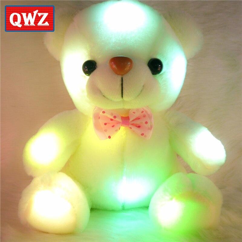 QWZ 22 см красочные светящиеся плюшевые детские плюшевые куклы, игрушки, освещение, плюшевый мишка, милые рождественские подарки для детей