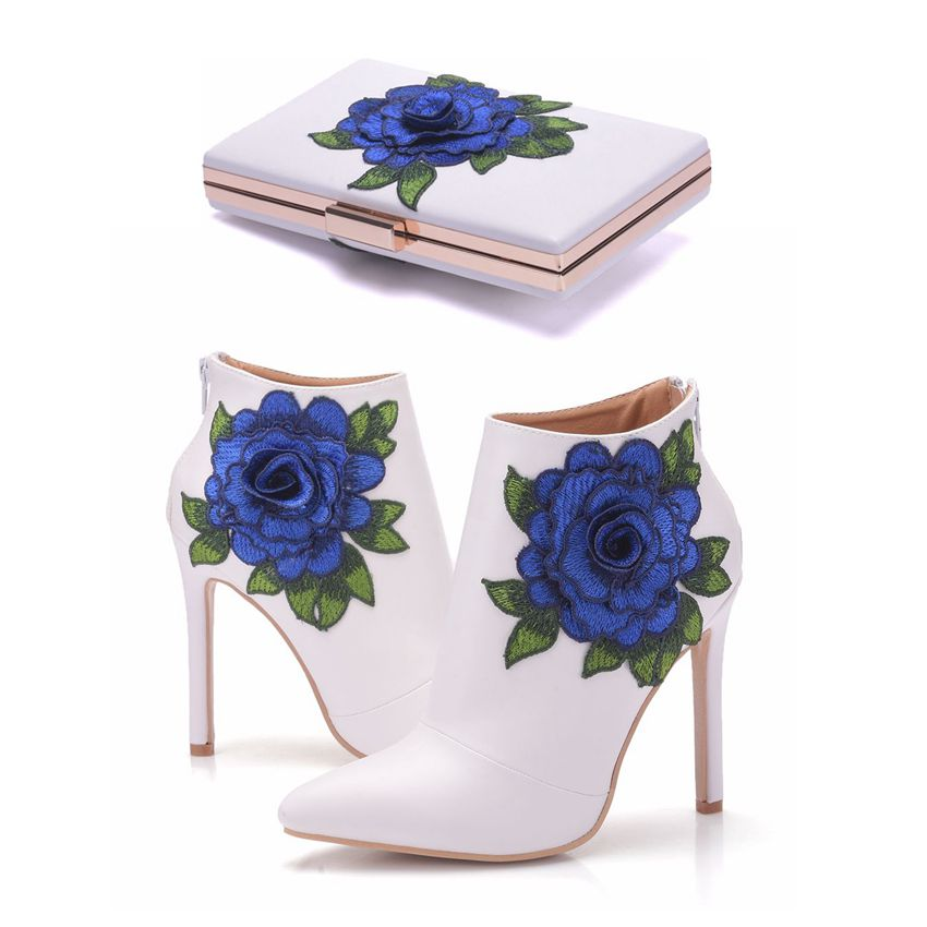Crystal Queen Blue Lace Wedding Shoes Sexy Women Boots Flower Thin High-Heel Ankle Boots With Matching Bags With Purse Shoes
