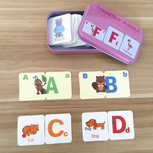 Baby Toys English Cognitive Card Digital/Fruit/Animal/Letter Set Pair Puzzle Early Head Start Training Puzzle Educational Gift(China)