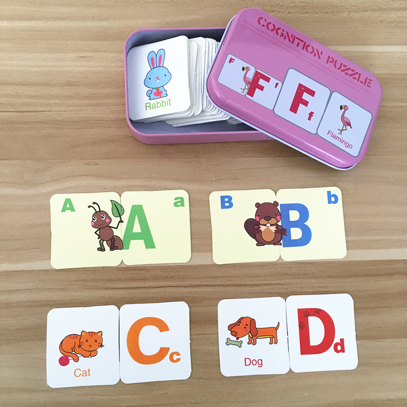 Baby Toys English Cognitive Card Digital/Fruit/Animal/Letter Set Pair Puzzle Early Head Start Training Puzzle Educational Gift