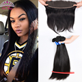 Brazilian Virgin Hair Straight 3Bundles With Full Lace Frontal 7A Brazilian Straight Human Hair with Knots Bleached Lace Frontal