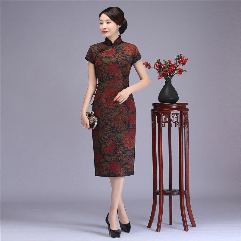 Новые летние короткий рукав длинное Ципао Королевский женский бизнес торжественное платье Винтаж ручной работы и пуговицы Cheongsam Vestidos больш