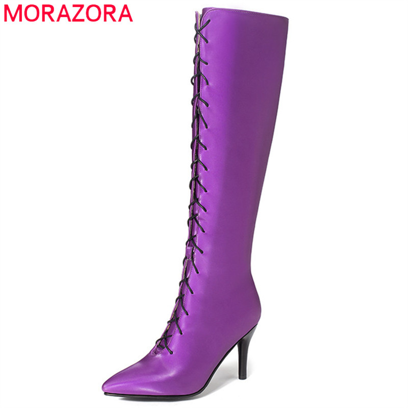 MORAZORA 2020 grande taille 48 genou bottes hautes femmes zip bout pointu slim talons aiguilles parti chaussures de bal femme automne bottes