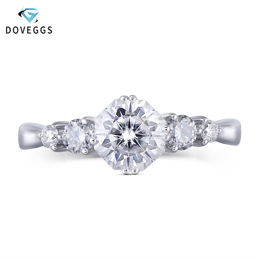 DovEggs 14K White Gold Center 1ct 6mm F Color Octagon Cut Moissanite Engagement Rings for Women