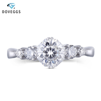 DovEggs 14K White Gold Center 1ct 6mm F Color Octagon Cut Moissanite Engagement Rings for Women Wedding Engagement Fine Jewelry